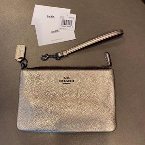 COACH Small Metallic leather Wristlet Gold